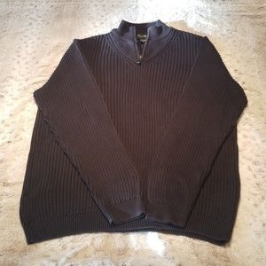 Eddie Bauer Dark Blue Grey Cable Knit Sweater